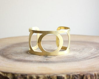 Raw Brass Cuff Bracelet - wide gold cuff bracelet, bold geometric jewelry, metal cut out, music festival bracelet, coachella jewelry