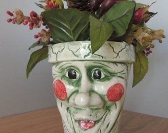 Scary Smiling Clown Face White Ceramic Planter. Halloween Silly Face Pot. Unusual Big Eyed Rosy Cheeked Painted  Vase