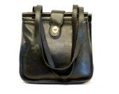 Coach Messenger Shoulder Bag // Unisex Black Leather Tablet Handbag
