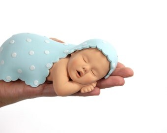 Baby Boy Sugar Paste Cake Topper with Pale Blue Blanket & White Polka Dots for Baby Shower by lil sculpture