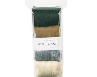 Japanese Needle Wool Felt 4 Color Set, Dark Grayish Selection, Solid, Mix, Felting Supply, Colorful Candy Hamanaka, Wool Felting Roving, F63