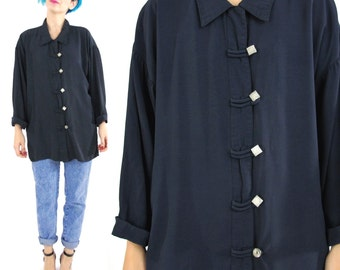 80s Navy Blue Blouse Vintage Long Sleeve Shirt Button Down Chinese Asian Style Square Buttons Dark Basic Top Slouchy Collared Shirt (L/XL)