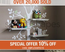 Wall Decals Baby Nursery Decor: Shelving Tree Decal with Birds - Original Wall Decal