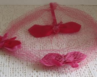 Vintage Hat Pink Velvet Ribbons Netting