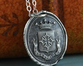 Wax Seal Necklace, Faith Hope Cross, Latin Spes Fides, Sterling Silver