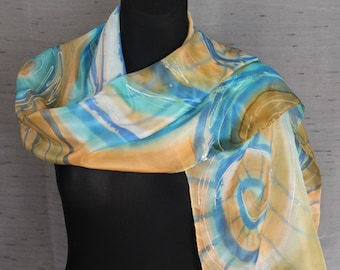 Hand painted silk scarf with Happy Shell Swirls. Peach, tan, white, light blue large scarf/ shawl from pure silk painted by an artist