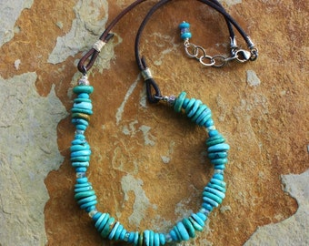 Handmade Jewelry, Boho Turquoise and Leather Necklace, OOAK Handcrafted Artisan Sterling Silver Necklace