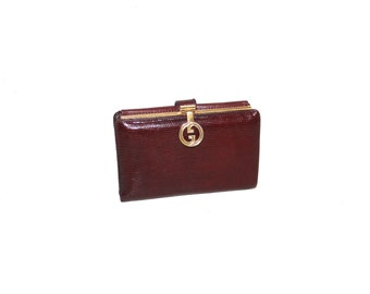 GUCCI Vintage Wallet Burgundy Lizard Skin Logo Clasp Coin Clutch - AUTHENTIC -