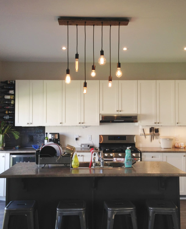 lustre en bois pendentif 7 îlot de cuisine cuisine