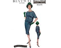 50s Rare PIERRE CARDIN Skirt & Jacket Pattern Bestway D 3771 Womens Designer Slim Skirt Suit Vintage Bust 36 inches Waist 29 inches