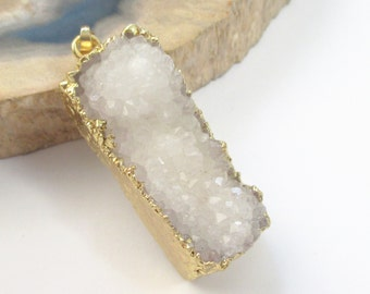 White Druzy Geode Pendant - Crystal Agate - Long Rectangle Drusy - Dipped in Gold Teardrop - Boho Luxe Jewelry - Druzy Necklace