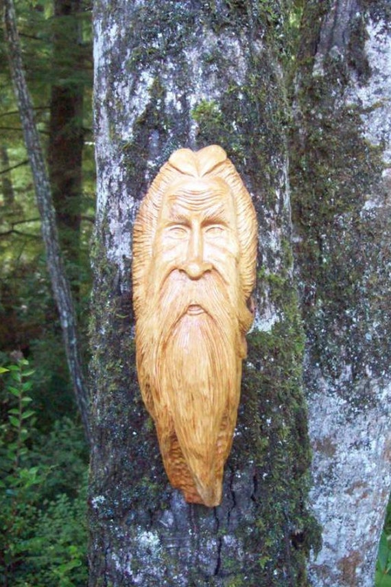 wood carving of viking wood spirit, hand carved from cypress wood ...