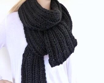 Black Chunky Knit Scarf Black Mens Scarf Womens Knit Scarf