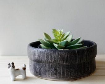 Bonsai Planter | cable-knit sweater texture | garden plant planter pots | succulent cactus orchid bonsai terrarium | made to order