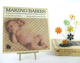 making babies, vintage 1970s children's hard cover book on reproduction - Open Family Book series by Sara Bonnet Stein