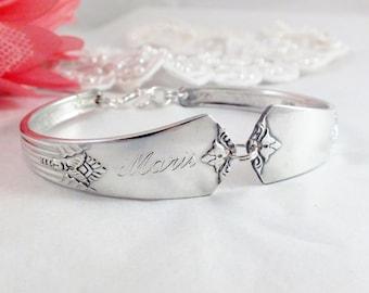 FREE ENGRAVING, Spoon Bracelet Silver Wedding Bracelet, Bridesmaid Bracelet, Bridesmaid Gift, Christmas, Vintage Wedding  GUILD 1932