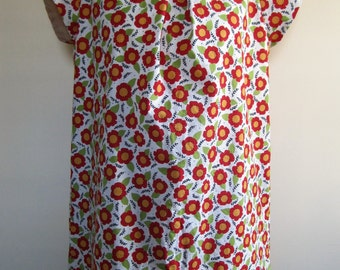 Floral Dress Farm Girl Pleated Red Daisy Retro Short Sleeve Plus Size XL - Extra Large