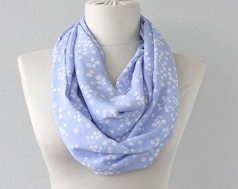 Infinity scarf light blue scarf polka dot scarf eternity scarf cotton circle scarf infinity loop scarf fashion scarves woman gift idea