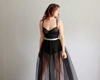 50s Tulle Skirt - Vintage 1950s Petticoat - Black Swan Tulle Skirt
