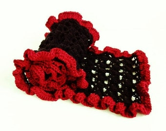 Crochet Scarf Red Black , Handmade Knitted Long Lacy Ruffled Edge Scarf Wrap , Discontinued FINAL SALE ITEM Was 24.00