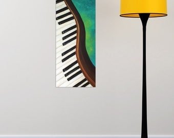 DANCING PIANO No.2, 12x24 Acrylic Canvas, Home Decor Wall Art, Music Themed Painting