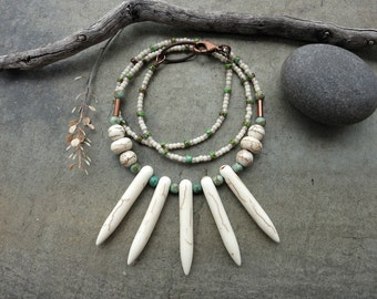 White Tribal Spike Necklace, rustic Bohemian howlite jewelry with turquoise green & copper accents, beaded fan necklace