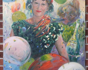 Vintage Large MODERNIST Late Deco WOMAN Celebration PARTY Balloons New Years Painting c1940s