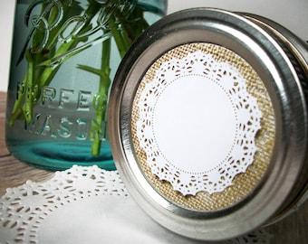 Burlap Doily Cottage Chic canning jar labels, round canning labels for fruit vegetable preservation, jam jar labels, wedding shower favors