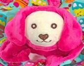 Pink Puppy Security Blanket, Lovey, Lovey Blanket, Minky Baby Blanket, Stuffed Animal, Baby Toy, Teething Toy, Sensory Blanket, Blankie, Dog