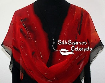 Silk Scarf Red, Black Hand Painted Chiffon Silk Shawl NIGHT PASSION by Silk Scarves Colorado, in 4 SIZES. Elegant Silk Gift Anniversary Gift
