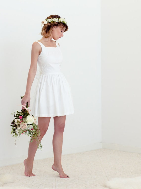 Evie dress in cotton simple short wedding dress for Simple cotton wedding dress