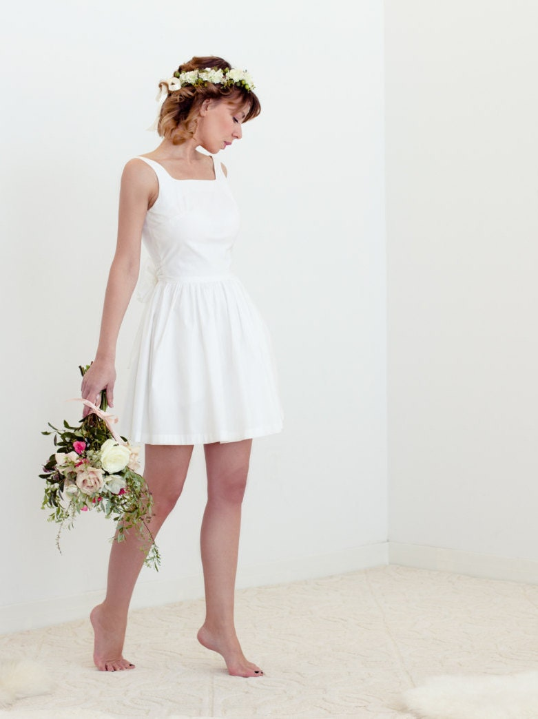 Evie dress in cotton simple short wedding dress by for Simple cotton wedding dress