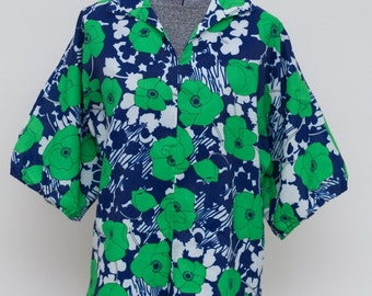 Vintage 60's Navy and Green Floral Crepe Shirt