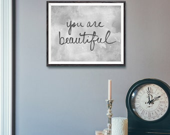 YOU ARE BEAUTIFUL | Inspire | Typographic Printable Art | Handwritten Type | Digital Print Download | 8 x 10