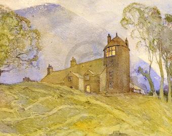Tower, Castle, Watchtower, Fortress, Art Deco, 1920s Art Print