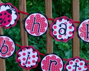 READY TO SHIP Ladybug Banner Happy Birthday Banner Red & Black Little Lady Birthday Party Decorations Little Lady Party Ladybug Party