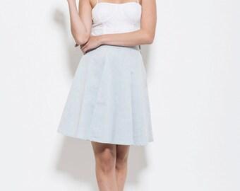 High Waisted Skirt, Blue vintage, Cotton Skirt, pleated skirt, knee length skirt, ladies skirt, denim Pleated skirt,