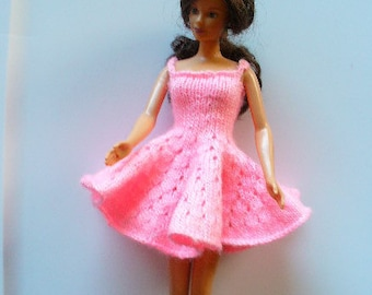 Barbie knitted pink flared short dress