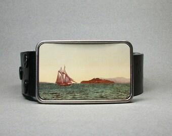 Belt Buckle Vintage Sailboat Ocean Unique Gift For Men Or Women