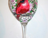 Red Birds Hand Painted Cardinal, Blue-jay, Goldfinch, Robin, Oriole Set of 2 - 20 oz. Red Wine Goblets Valentines Day Gift Mothers Day
