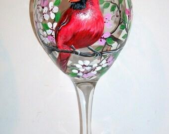 Hand Painted Wine Glasses Birds Hand Painted Cardinal, Bluejay, Chickadee, Robin, Oriole  Handpainted 20oz. Wine glass One Glass