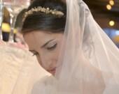 Gold bridal tiara, pearl wedding tiara, bridal pearl tiara, gold wedding tiara, crystal pearl tiara, gold bridal crown, pearl hair crown,