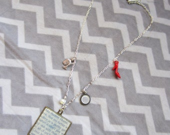 Audrey Horne diary necklace, inspired by Twin Peaks, w/ excerpt from The Secret Diary, with Red Heel, Perfume, and Mirror charms.