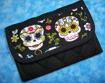 Women Wallet Small Wallet Credit Card Wallet Sugar Skull Day of the Dead Credit Card Holder Vegan Business Card Holder Trifold Ladies Wallet