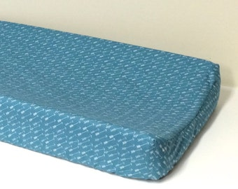 Changing Pad Cover - Adventure in Springs - Contoured - Teal, White, Arrows - Baby Changer - Baby Accessory, Nursery Decor, Hello Bear