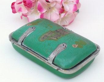 Victorian Celluloid Box | Cigarette Case | Tobacco Case | Green Trinket Box | Tobacciana