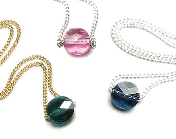 Swarovski Crystal Petite Round Birthstone Color Necklace Silver or Gold Chain Simple Personalized Jewelry for Women Teen Birthday Gift Box