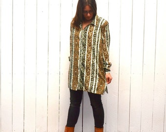 Cheetah Print Blouse - 1970s Slouchy Button Up Top - Vintage Paisley Print Womens Top - Gold Baby Blue - 2XL