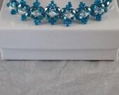 7 Inch Greenish Blue and Crystal Bracelet - Seed Bead Bracelet - Beaded Everyday Bracelet - Flat Band with Toggle Clasp