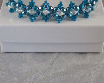 7 Inch Greenish Blue and Crystal Bracelet - Seed Bead Bracelet - Beaded Everyday Bracelet - Flat Band with Toggle Clasp - Gift for Her